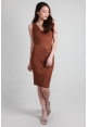Criss-Cross Wrap Ribbed Dress in Rust
