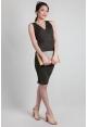 Criss-Cross Wrap Ribbed Dress in Khaki
