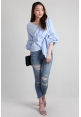 Gathered Sleeve Blouse in Blue