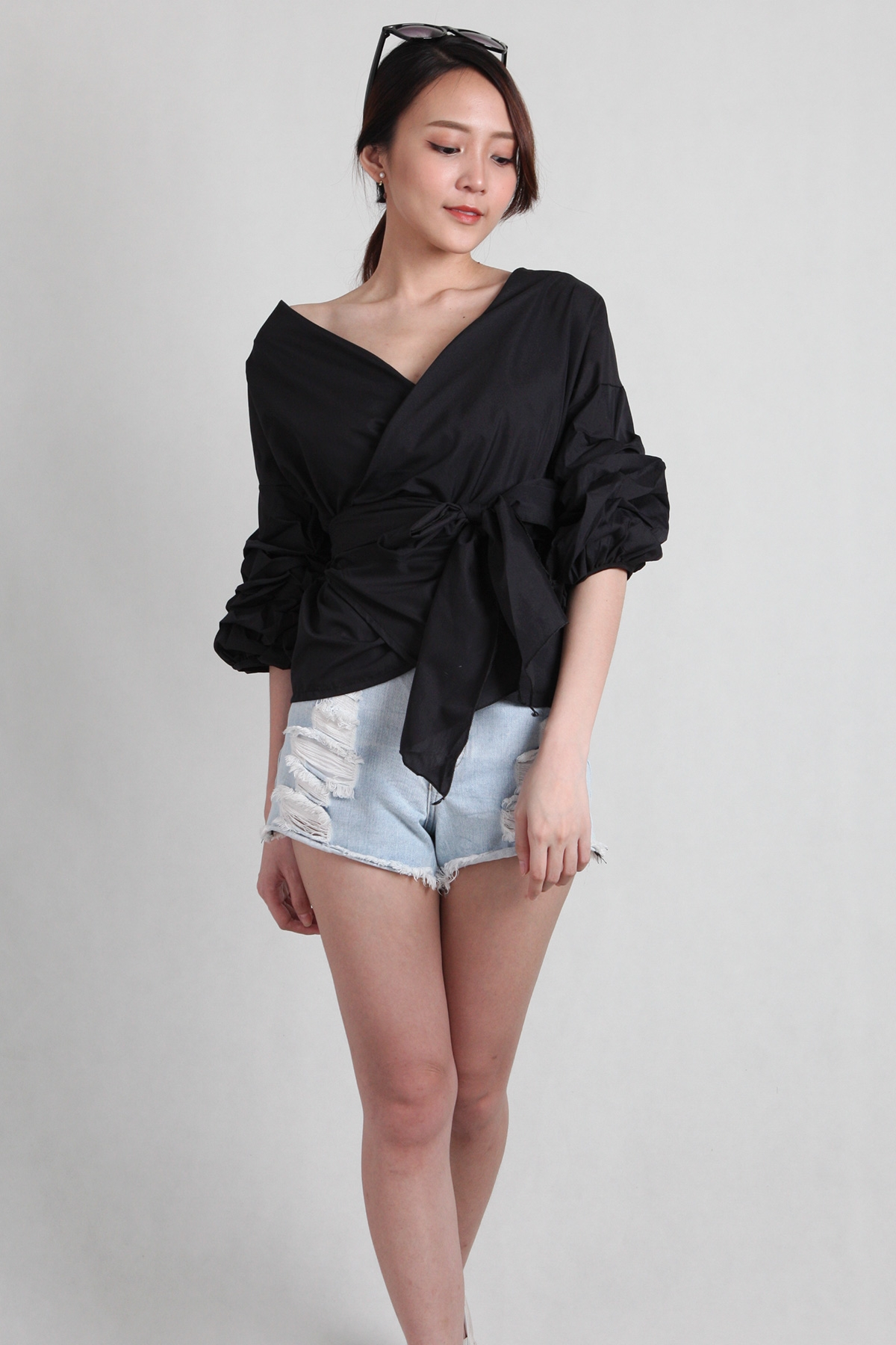 Gathered Sleeve Blouse in Black