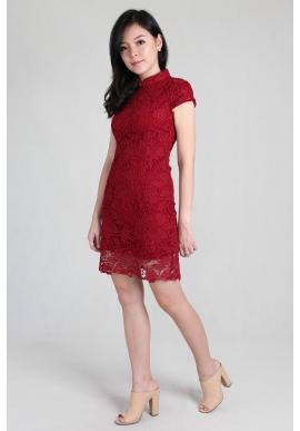 Crochet Lace Cheongsam in Red