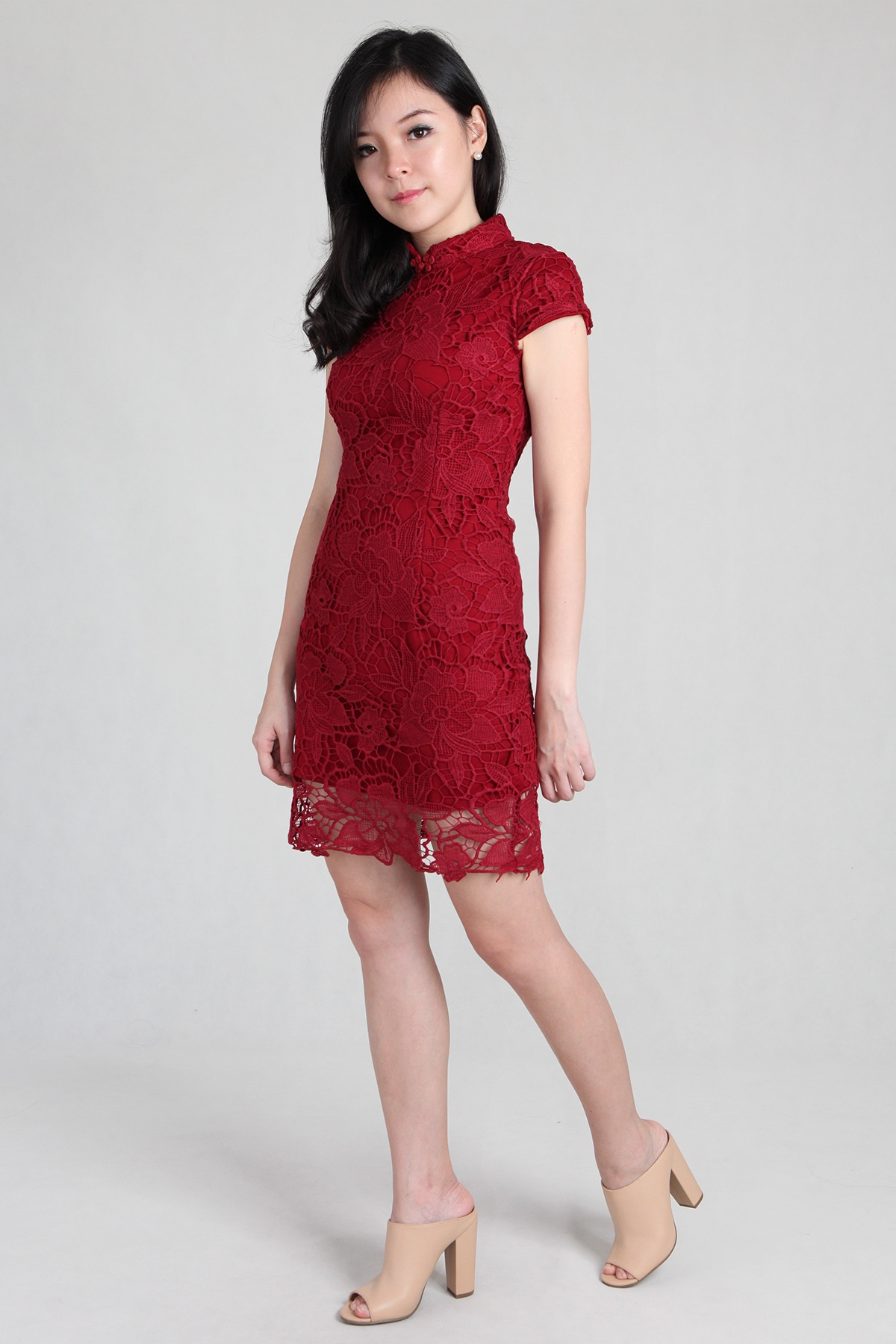 Crochet Lace Cheongsam in Red