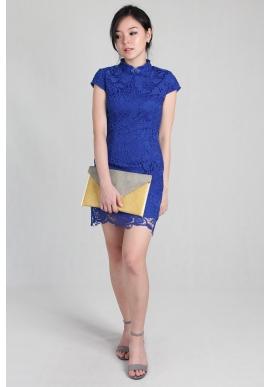 Crochet Lace Cheongsam in Cobalt