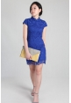 Crochet Lace Cheongsam in Cobalt
