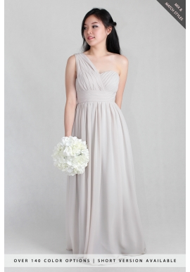 Lyla Grecian One Shoulder Chiffon Dress