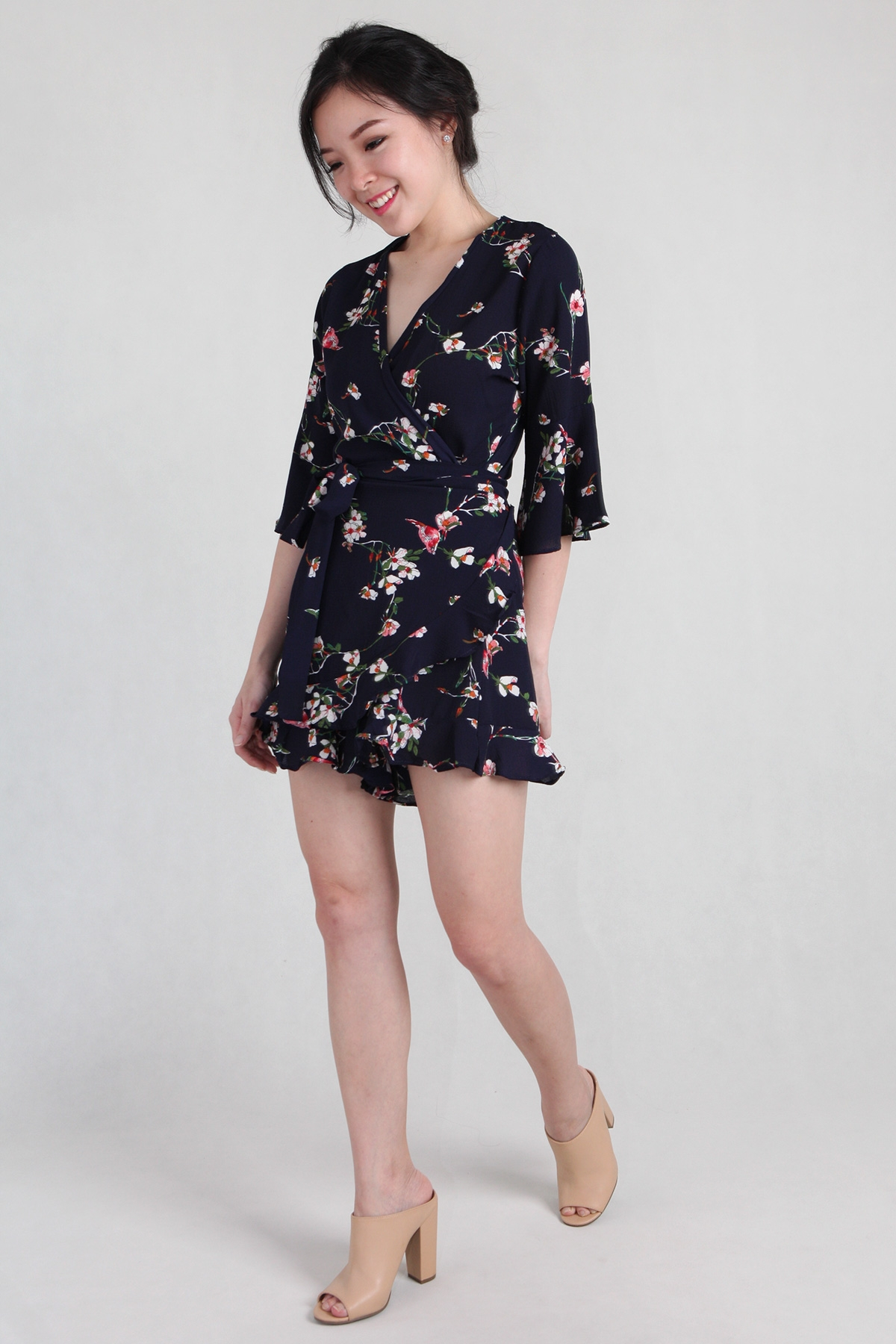 Floral Ruffles Playsuit in Navy