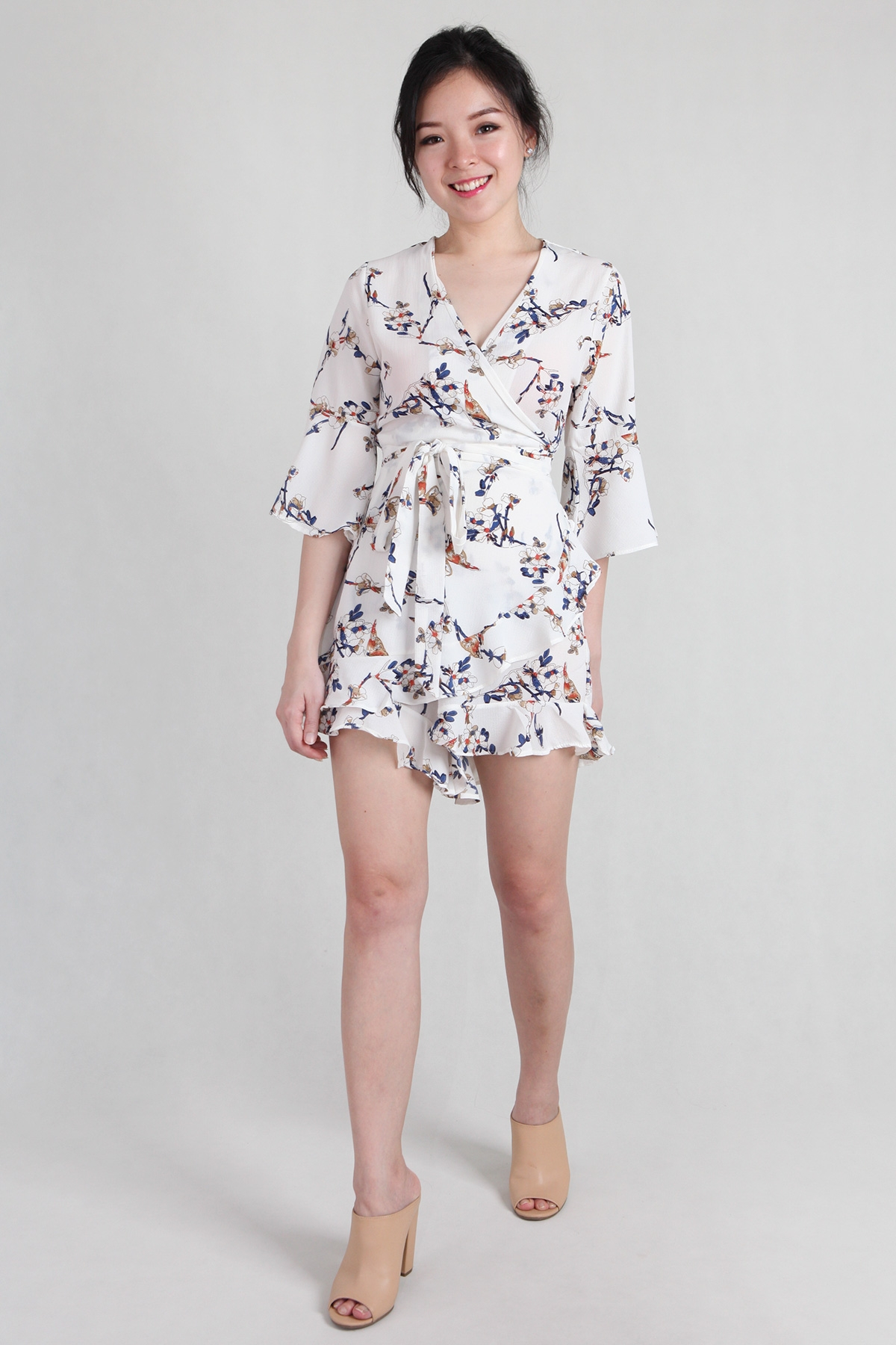 Floral Ruffles Playsuit in White