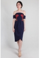 Blossom Embroidery Tube Dress in Navy