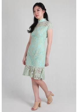 Mermaid Lace Cheongsam in Mint