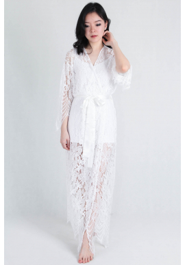 Luna Lace Bridal Robe in Maxi