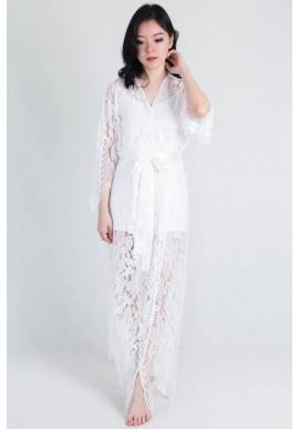 Luna Lace Bridal Robe in Maxi