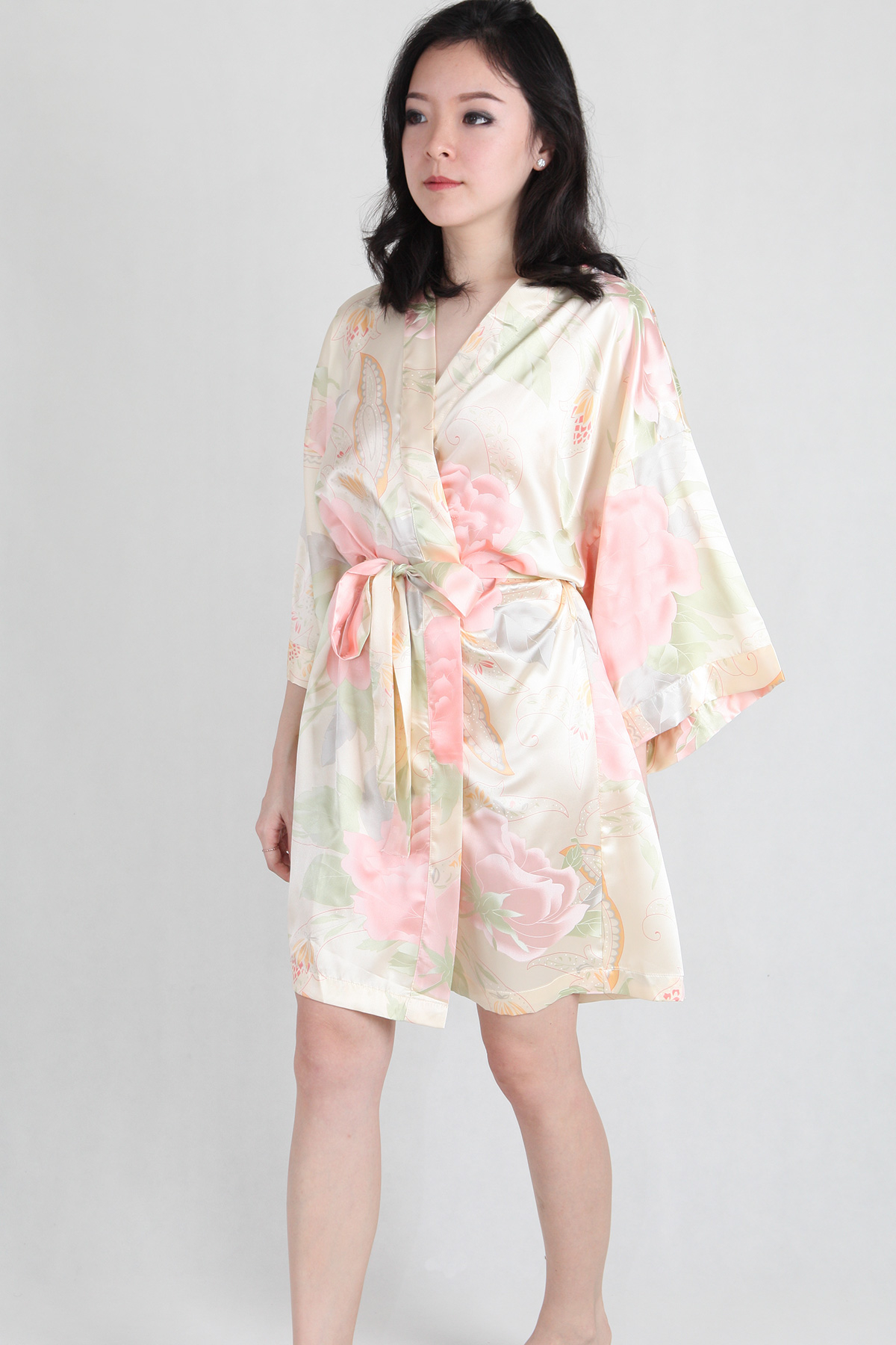 Watercolour Satin Kimono Robe in Champagne