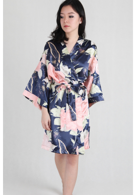 Watercolour Satin Kimono Robe in Navy