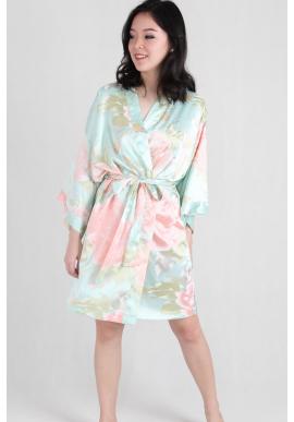 Watercolour Satin Kimono Robe in Mint
