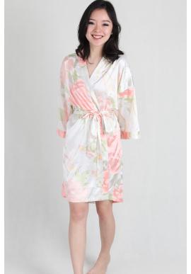 Watercolour Satin Kimono Robe in White