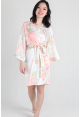 Watercolour Satin Kimono Robe in White