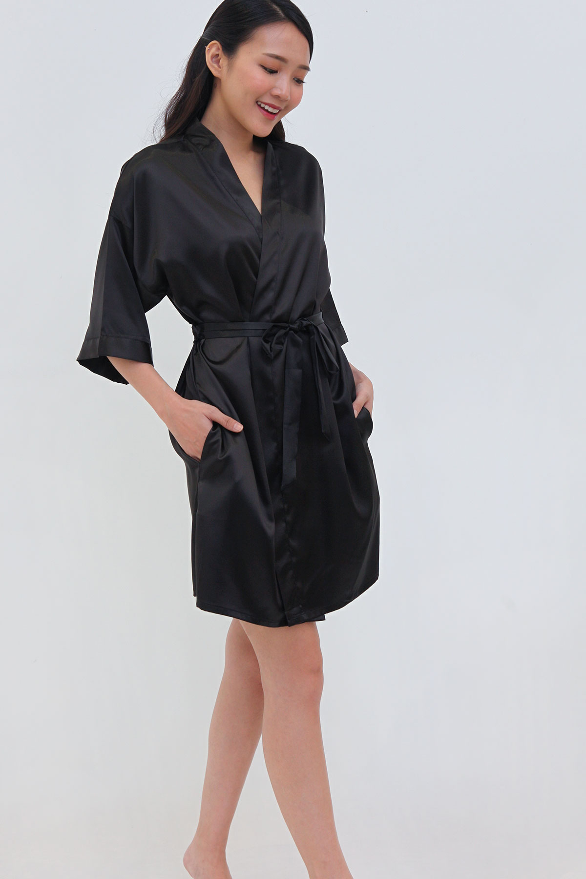 Luxe Satin Robe in Jet Black