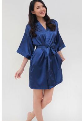 Luxe Satin Robe in Midnight Blue