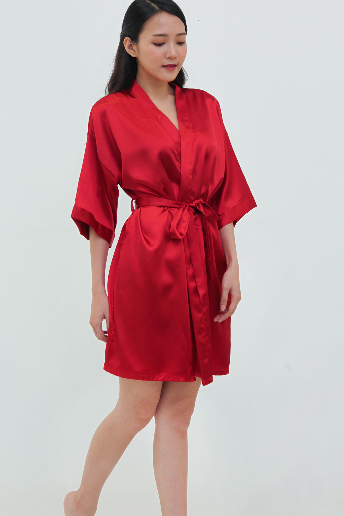 Womens Short Satin Wrap Red Sizes 10-20 |Red Silk Robe