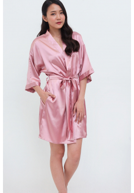 Luxe Satin Robe in Dusty Pink