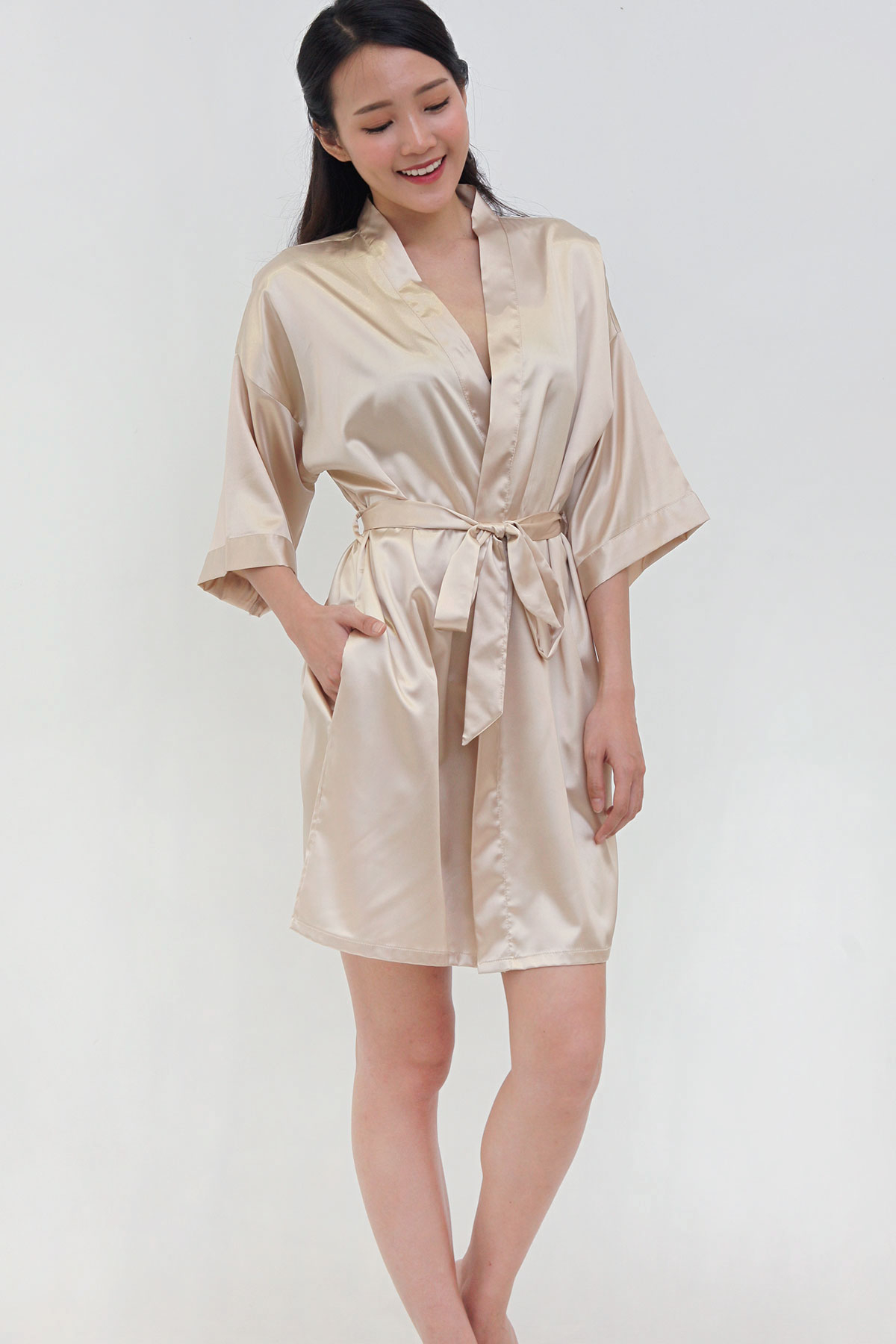 Luxe Satin Robe in Champagne