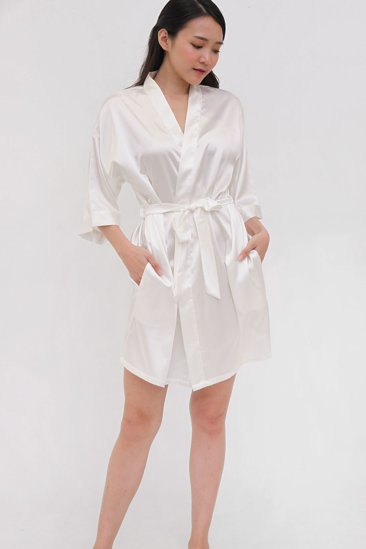 Luxe Satin Robe in White