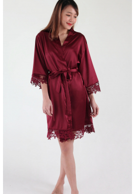 Crochet Trimmed Satin Robe in Burgundy