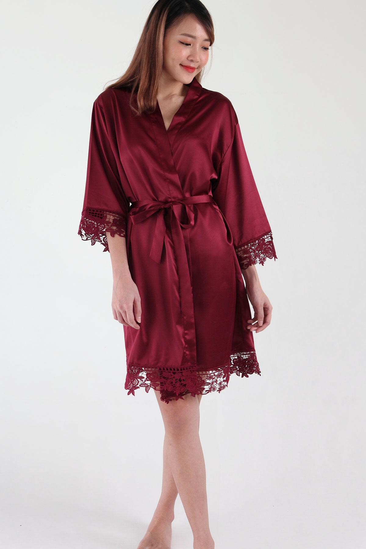 Crochet Trimmed Satin Robe in Burgundy