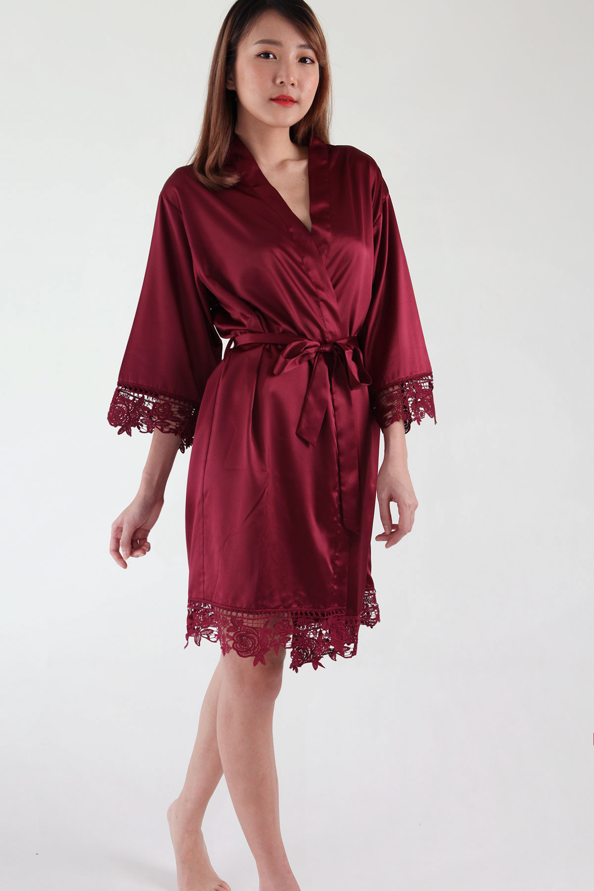 Crochet Trimmed Satin Robe In Burgundy Parsealed