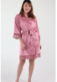 Crochet Trimmed Satin Robe in Rose