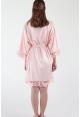 Crochet Trimmed Satin Robe in Blush