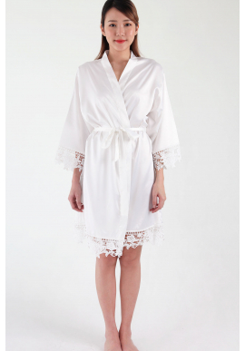 Crochet Trimmed Satin Robe in White