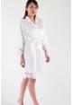 Crochet Trimmed Satin Robe in White