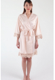 Crochet Trimmed Satin Robe in Champagne