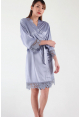 Crochet Trimmed Satin Robe in Alpine Blue