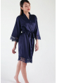 Crochet Trimmed Satin Robe in Midnight Blue