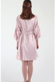 Ari Eyelash Lace Satin Robe in Powder Pink