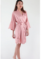 Ari Eyelash Lace Satin Robe in Dusty Rose