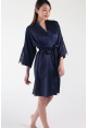 Ari Eyelash Lace Satin Robe in Dusty Blue