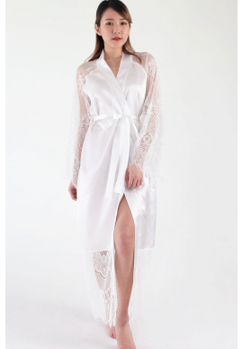 Hanna Eyelash Lace Bridal Robe