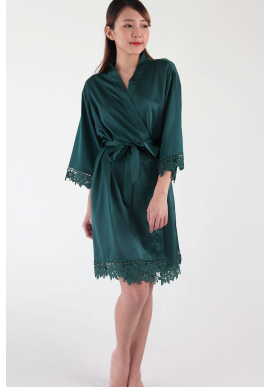 Crochet Trimmed Satin Robe in Emerald