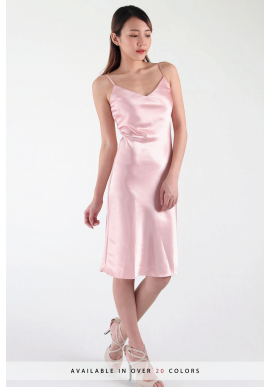 Lane V Satin Midi Slip Dress