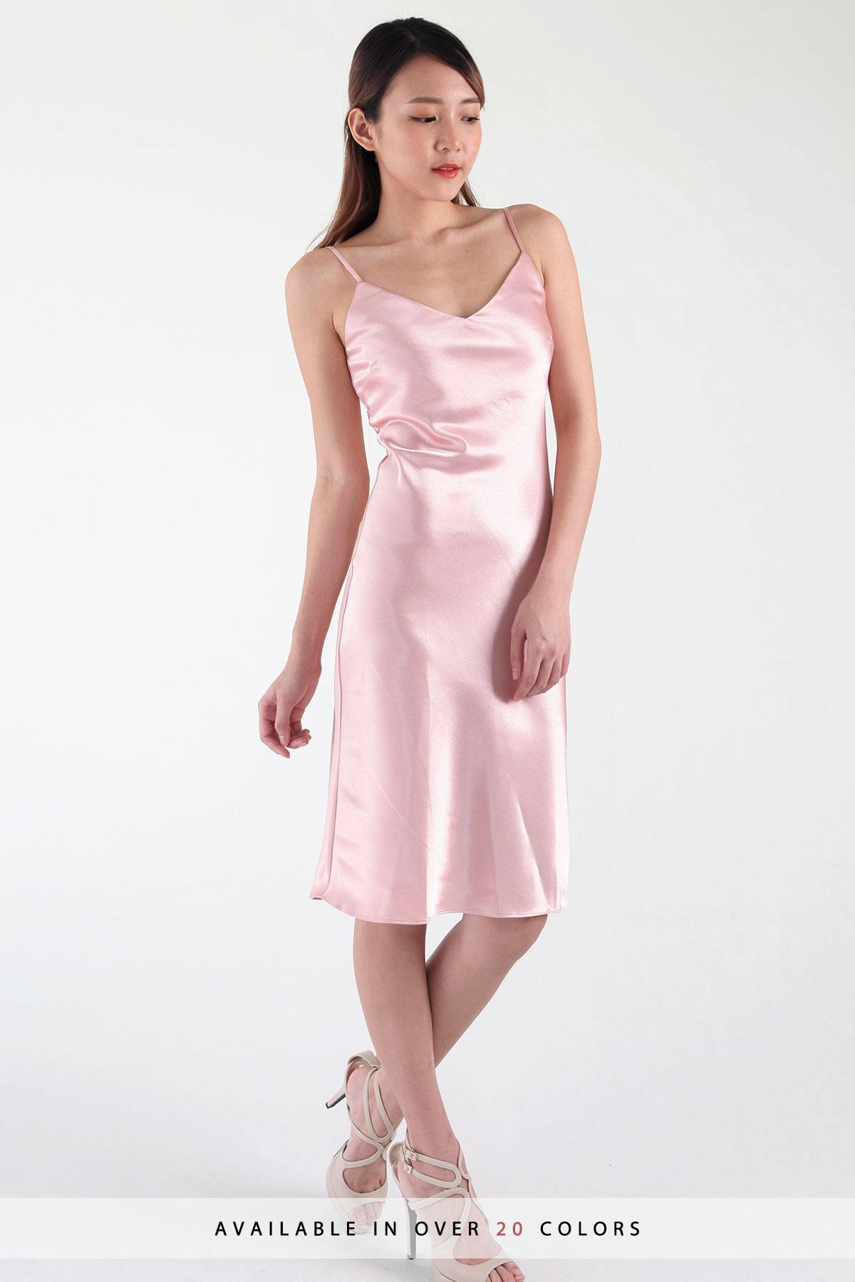Lane V Satin Midi Slip Dress