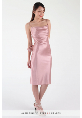 Kae Draped Satin Midi Slip Dress