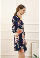 Petra Floral Ruffle Robe in Midnight