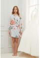 Petra Floral Ruffle Robe in Dusty Blue