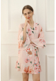 Petra Floral Ruffle Robe in Blush