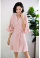 Kiara Ruffle Robe in Blush