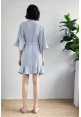 Kiara Ruffle Robe in Dusty Blue