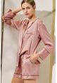 Satin Lounge Shorts Set in Desert Pink
